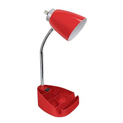 Limelights LD1057-RED iPad Tablet Stand Book Gooseneck Organizer Desk Lamp with Holder and Charging