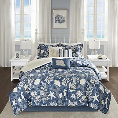 Madison Park Cape Cod 7 Piece Cotton Sateen Comforter Set Blue Cal King