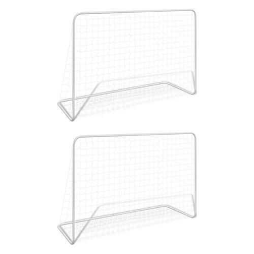 vidaXL Fußballtore 2 Stk. mit Netzen 182×61×122 cm Stahl Weiß