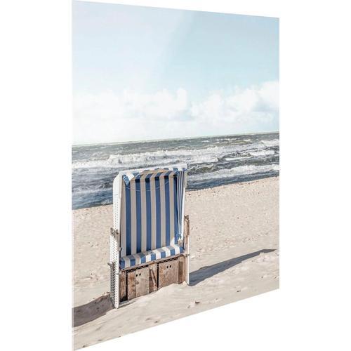 Reinders Glasbild Strandkorb beige Glasbilder Bilder Bilderrahmen Wohnaccessoires