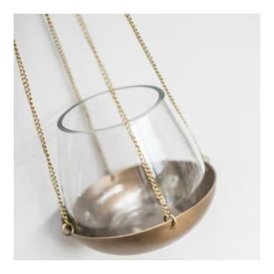 Accessories for the Home - Antique Brass Hanging Votive - Gold/Glass