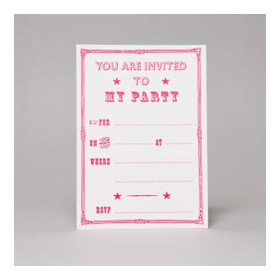 Marby And Elm - Victorian Style Party Invites In Fluoro Pink - Pink