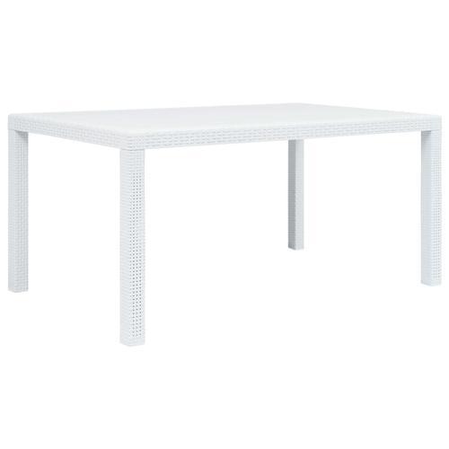 vidaXL Gartentisch Weiß 150 x 90 x 72 cm Kunststoff Rattan-Optik