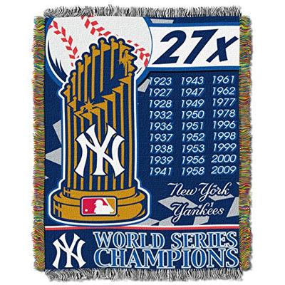 """Officially Licensed MLB New York Yankees Commemorative Woven Tapestry Throw Blanket, 48"""" x 60"""""""