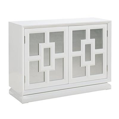 """Pulaski P020005 Modern Mirrored 2 Door Wine Storage with Stemware Rack 48"""" x 16"""" x 34"""" White Gloss"""