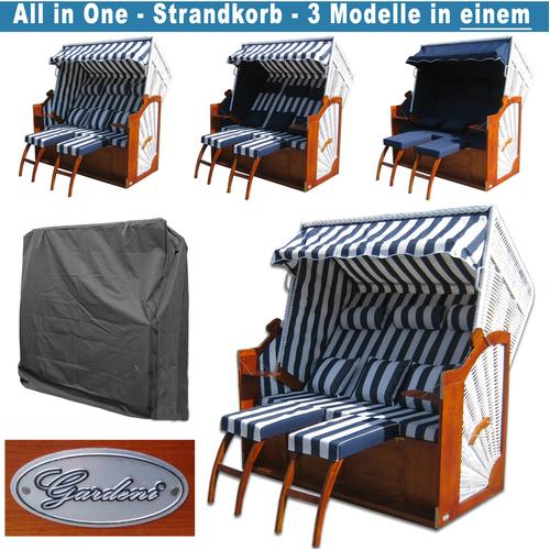 Gardeni - Friesland Strandkörbe # blau # Schutzhülle # 2x komplette Bezüge # XXL Strandkorb