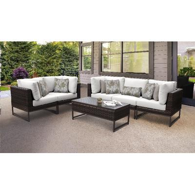 Amalfi 6 Piece Outdoor Wicker Patio Furniture Set 06m in Sail White - TK Classics Amalfi-06M-Brn-White