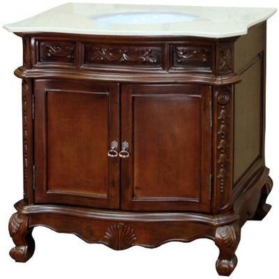 Bellaterra Home 202016A-S-CR 34.6-Inch Single Sink Vanity, Cream Marble, Wood, Walnut
