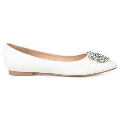 Brinley Co. Womens Faux Leather Pointed Toe Jewel Flats Ivory, 7 Regular US