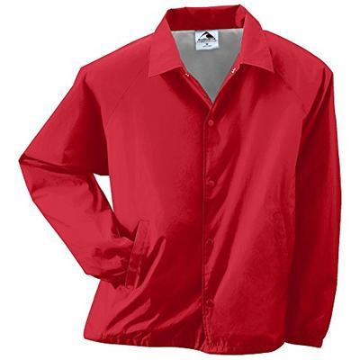 Augusta Sportswear Unisex-Adult Nylon Coach's Jacket/Lined, Red, Large