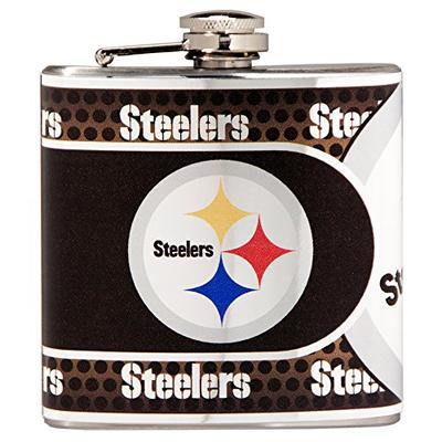 Great American Products NFL New Orleans Saints Stainless Steel Hip Flask with Metallic Graphics, 6-O
