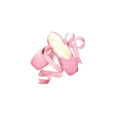 Temple and Co - Baby Ballet Shoes A4 Print - White/Pink